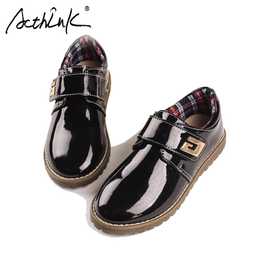 ActhInK New Boys Genuine Leather Shoes Children Formal Dress Shoes Boys Stylish Wedding Leather Shoes Kids Polish Flat Footwear