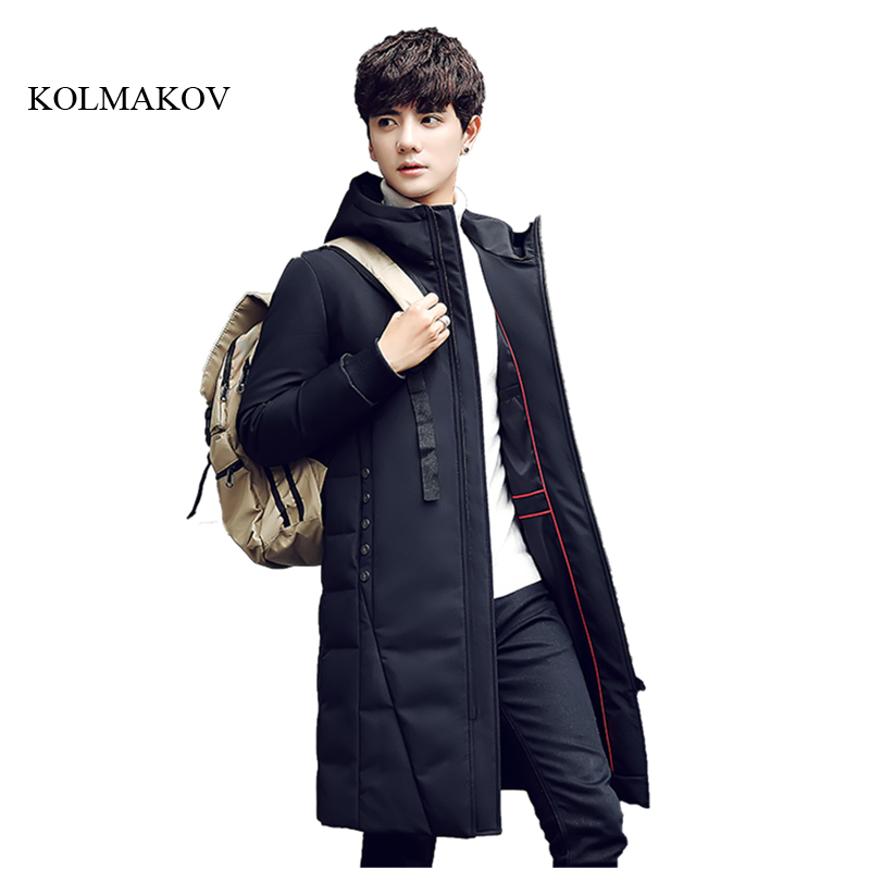 2017 New Arrival Winter style men long down coats fashion casual 90% white duck solid slim mens hooded down coat size M-3XL