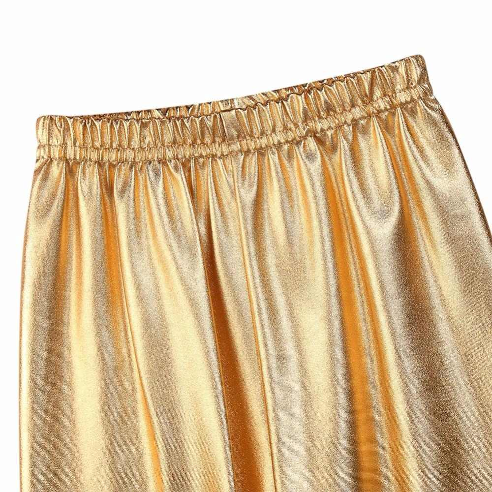 Yüksek kaliteli kız tayt elastik 3-10Y pantolon sıska altın gümüş çocuklar Metal renk payetli suni deri bebek Legging