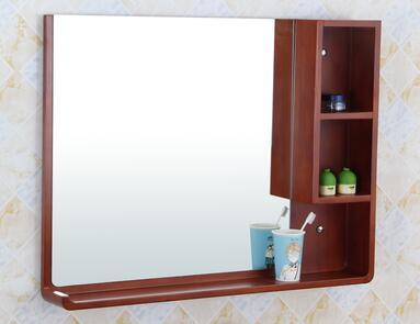 Waterproof Bathroom Mirror Solid Wood Storage Cabinet Shelf