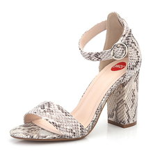 women sandals Fashion Coarse-heeled Sandals Womens British Wind Shoes Simple Serpentine Large Size