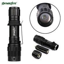 2000 XP-E Q5 led flashlight Zoom Aluminum pocket clip Super Bright Lamp for Hiking