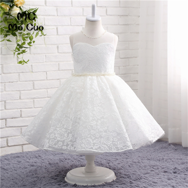Flower     Girl     Dresses   Hole Ball Gown White Lace Sleeveless O Neck Pearls Wedding Pageant First Communion   Dresses   for Little   Girls