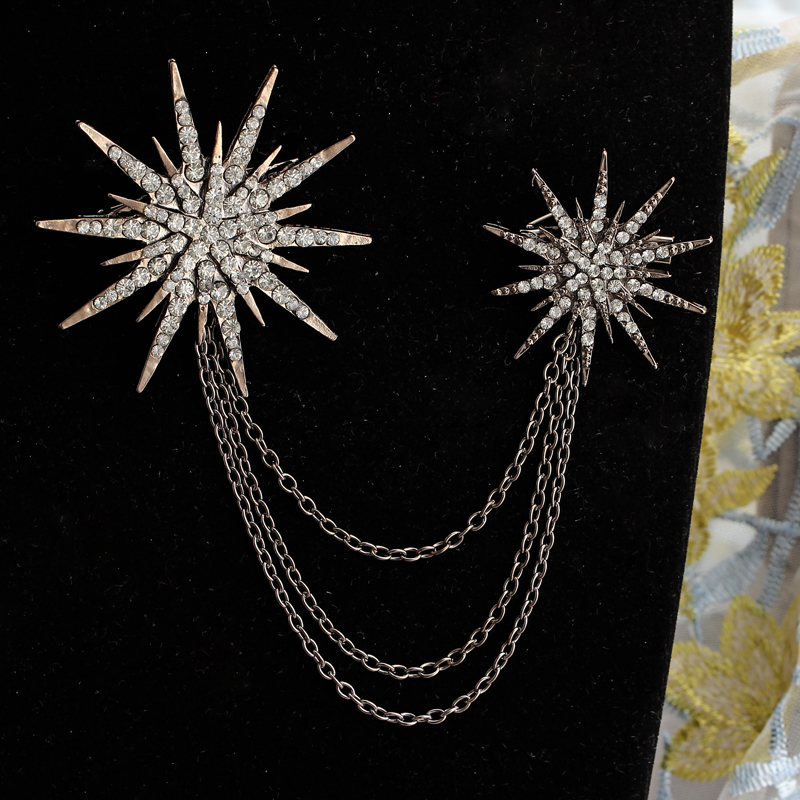 Hesiod Fashion Women Brooch Crystal Charm Star Sparking Chain Brooches Lady Dress Decoration Wholesale 1