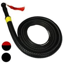 BDSM Slave długie PU skórzane gumowe bicze Flogger w zabawy dla dorosłych dla par, produkty erotyczne związane z fetyszami zabawki dla kobiet i mężczyzn