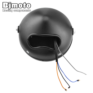 """Image 5 - BJMOTO for Harley Sportster Cafe Racer Bobber 6.5"""" Motorcycle LED Headlight Hi&Lo HeadLamp Bulb DRL With Angel Ring"""
