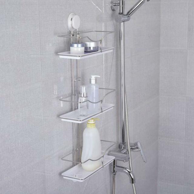 New Arrive Stainless Steel Ladder Shelf Bathroom Shelf  Strong Suction Cup Rod Three Layer Bath Towel Rack Shelf TBG