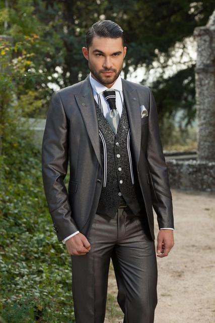 Groom Wear Wedding Suit Men Tuxedos Best Groomsman Dark Gray Color