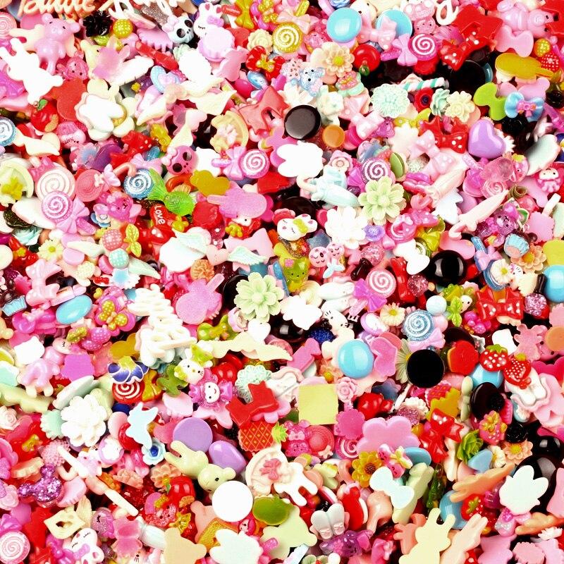 100Pcs Mixed Kawaii Resin Decoration Craft Flatback Cabochon Embellishments For Scrapbooking Kawaii Diy Accessories Diy