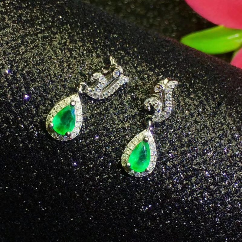 SHILOVEM 925 sterling silver Natural Emerald drop earring water fine Jewelry women wedding women wholesale le040602agml shilovem 925 sterling silver emerald stud earrings classic fine jewelry women wedding women gift wholesale jce040601agml