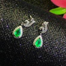 SHILOVEM 925 sterling silver Natural Emerald drop earring water fine Jewelry women wedding women  wholesale le040602agml цена