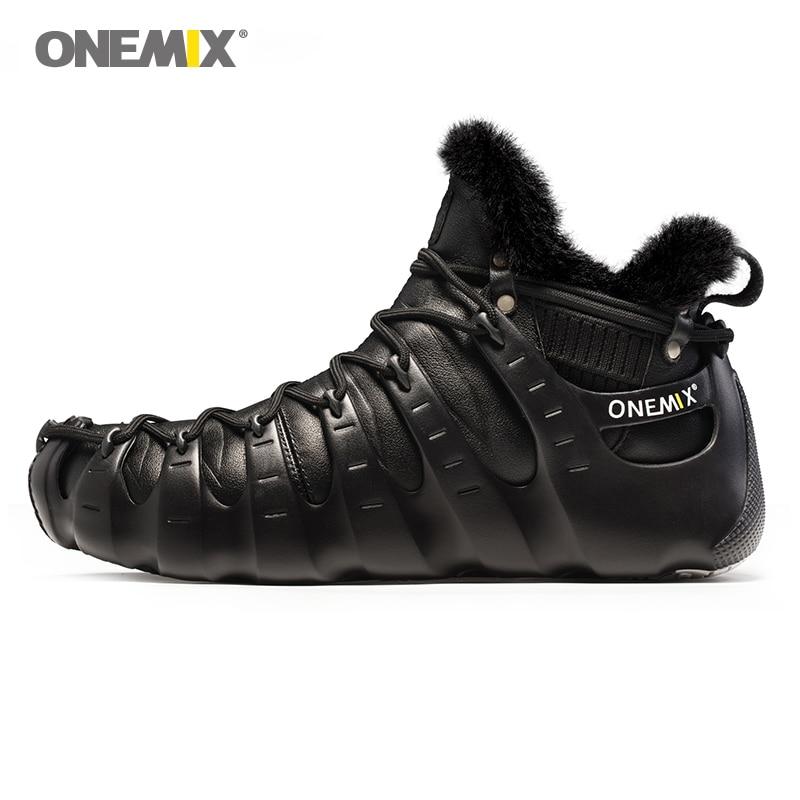 Onemix bottes d'hiver pour hommes chaussures de marche pour les femmes en plein air trekking chaussures no colle sneakers automne hiver garder au chaud chaussures