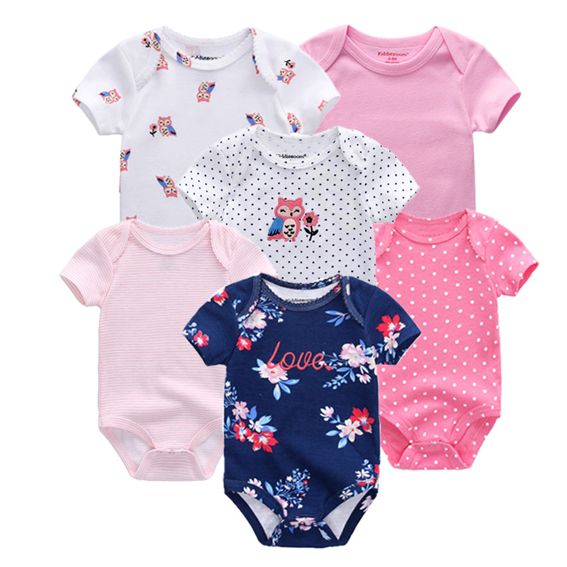 Image 4 - 6 PCS/lot Baby rompers 100% Cotton Infant Body Short Sleeve Clothing baby Jumpsuit Cartoon ropa bebe Baby Boy Girl clothesRompers   -