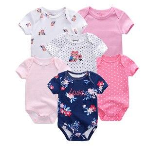 Image 4 - 6 개/몫 아기 rompers 100% 코 튼 유아 몸 짧은 소매 의류 아기 Jumpsuit 만화 ropa bebe 아기 소년 소녀 옷