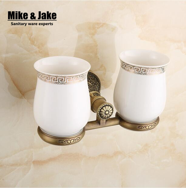 Brass Antique Double Cup Holder Toothbrush Antique Brass Double Tooth Brush Holder  Bathroom Cup Holder Toothbrush Holder In Cup U0026 Tumbler Holders From Home ...