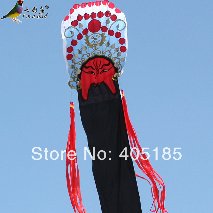 Free Shipping 12 m Guan Gong Facebook Software Power Kite Flying brass copper famous three kingdoms guan ping zhou cang guan gong warrior god set