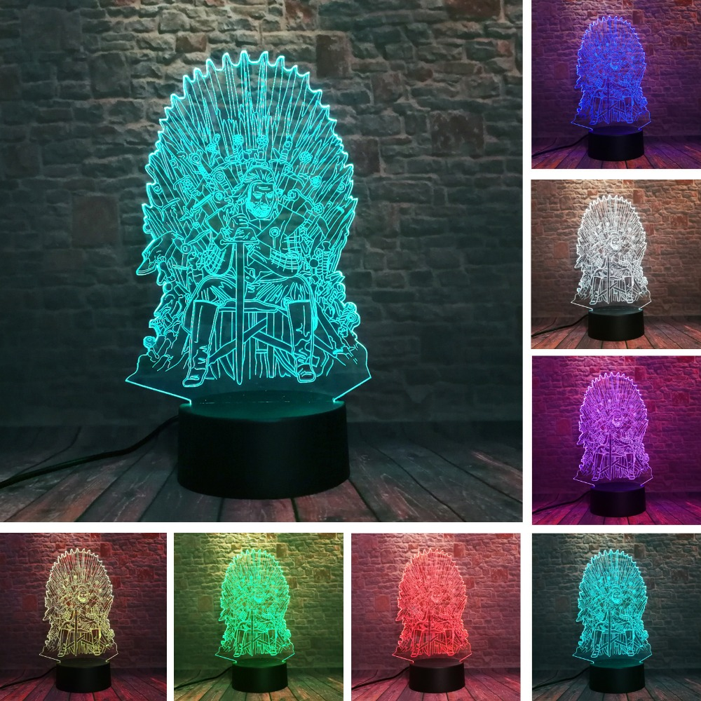 Eddard Stark Throne Game of Thrones A Song of Ice and Fire 3D 7 Color Change LED Night Light Sleeping Mood  Lamp Man Boys GiftsEddard Stark Throne Game of Thrones A Song of Ice and Fire 3D 7 Color Change LED Night Light Sleeping Mood  Lamp Man Boys Gifts