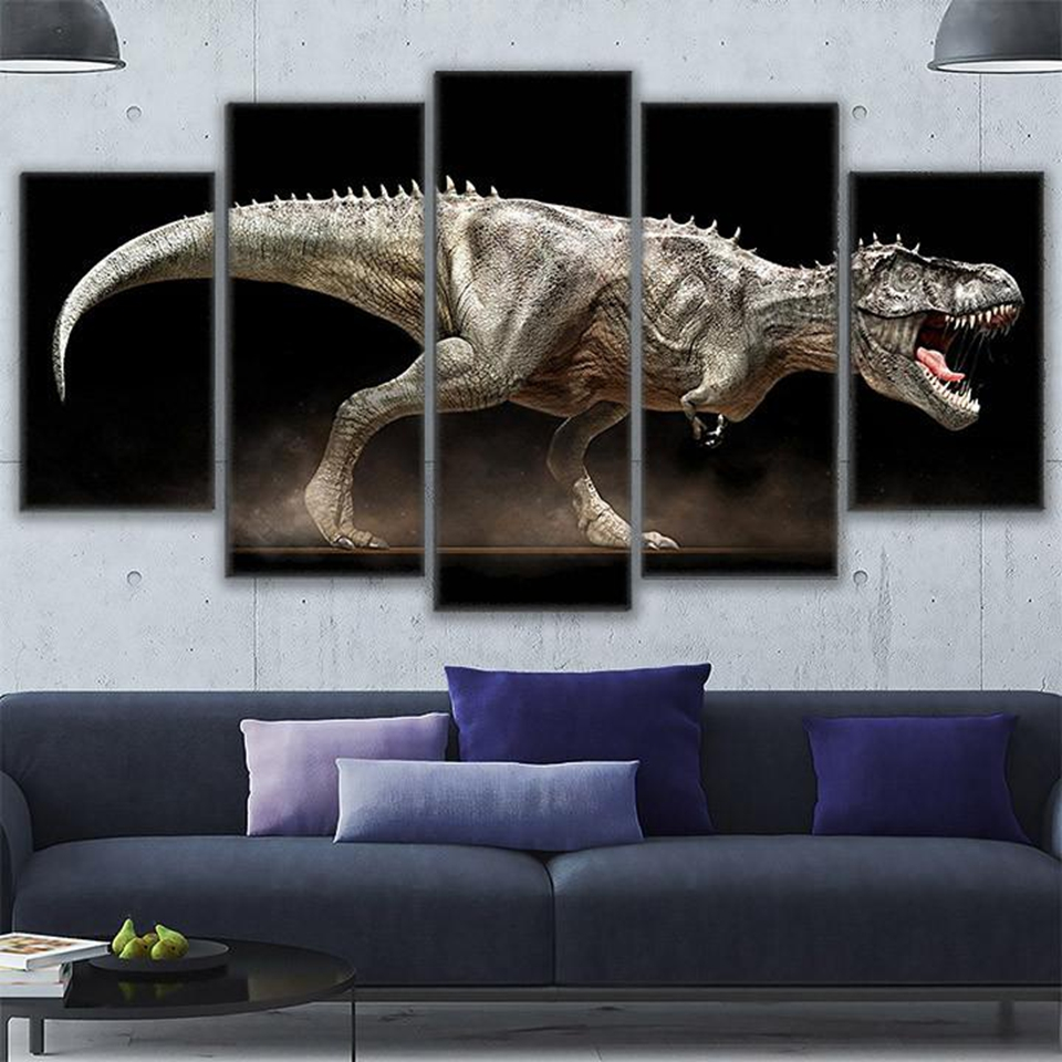 Us 5 67 43 offmodular wall art canvas pictures for living room 5 pieces jurassic park painting home decor modular angry dinosaur poster pengda in