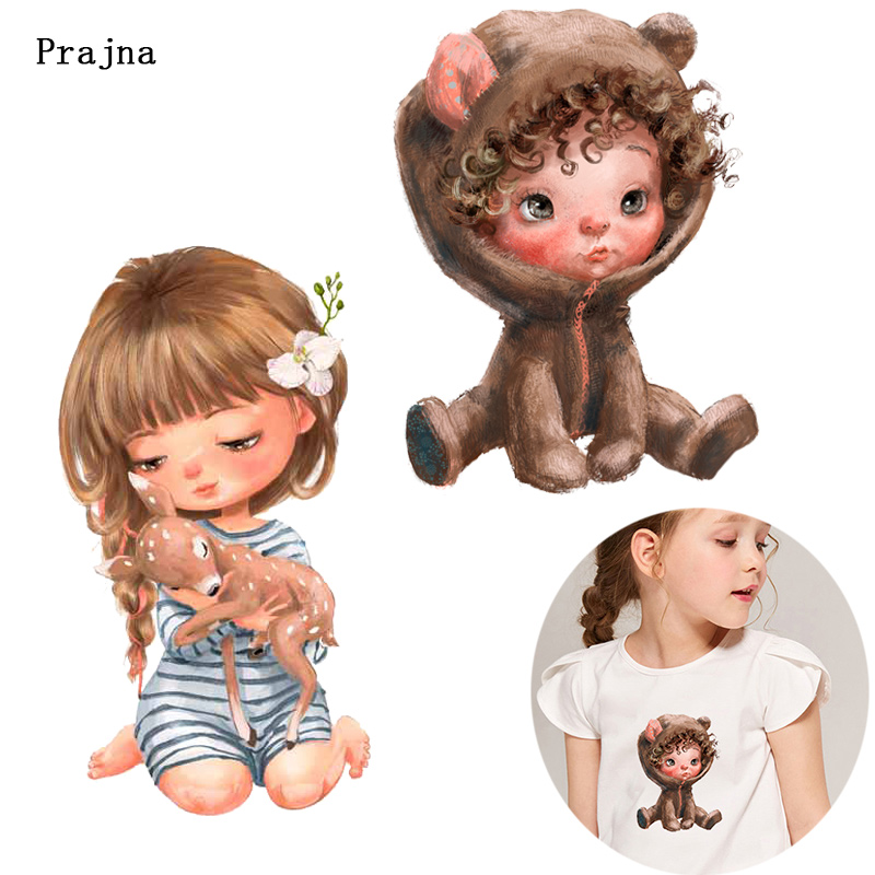 Prajna European Girl Vinyl Heat Transfer For Clothing Iron On Printed Thermal Transfer On T-shirts Dancing Girl Stickers Decor F