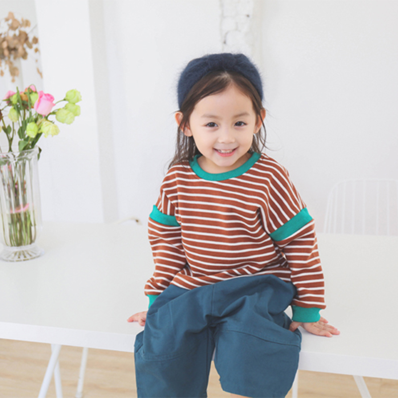 2018 stripe round neck sports fleece cotton material for boys and girls spring universal sweater 14