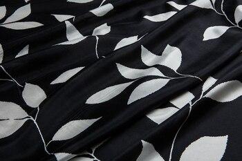 Baskılı saf ipek kumaş-% 100 ipek, yaprak baskılar, nefes, siyah, dikiş üst, gömlek, bluz, eşarp, elbise, pantolon, zanaat yard tarafından