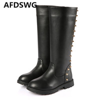 AFDSWG Autumn And Winter Tall Tube Thickened Warm Plush Rivet Black Girls Leather Boots Snow Boots