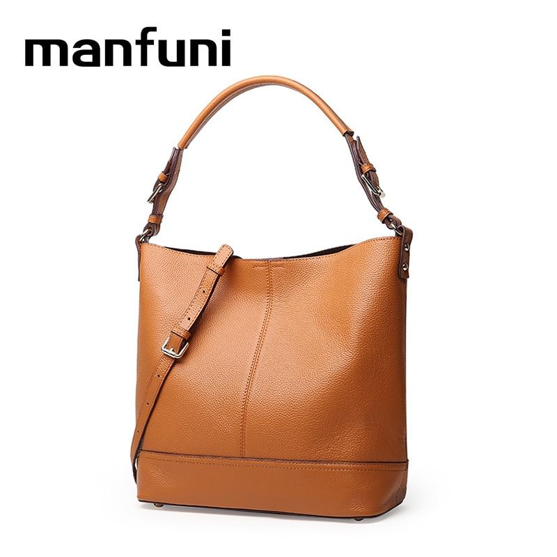 MANFUNI Genuine Leather bags handbags women famous brands Fashion casual import Cowhide Shoulder Bag bolsas feminina 0889
