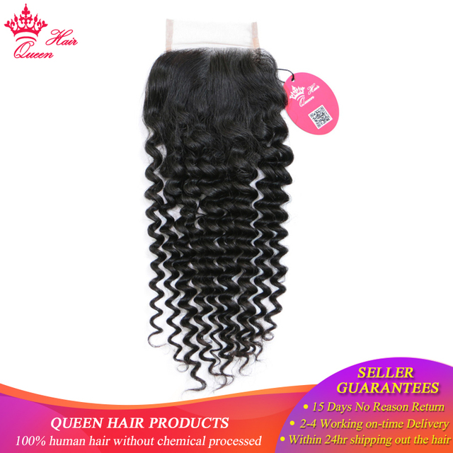 "Queen Hair Products Brazilian Virgin Hair Deep Wave 4x4 Swiss Lace Closure 10""-20"" Natural Color 100% Human Hair Free Part"