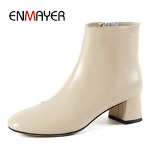 ENMAYER  New Fashion women high quality genuine leather round toe ankle boots lady square heel high heel boots size 34-43 ZYL816 fashion motorcycle boots women extreme high heel round toe dance boots sexy leather irregular ankle boots