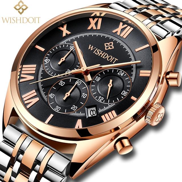 Men's Watches WISHDOIT Top Brand Luxury Man Date Clock Male Steel Strap Casual Quartz Watch Men Wristwatch Relojes Hombre стоимость