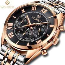 Men's Watches WISHDOIT Top Brand Luxury Man Date Clock Male Steel Strap Casual Quartz Watch Men Wristwatch Relojes Hombre