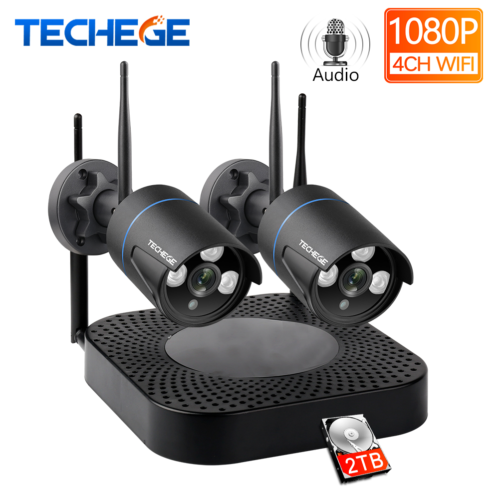 Techege H.265 4CH CCTV System 2pcs 960P/1080P HD Audio Wireless NVR Kit Outdoor Waterproof Security IP Camera WIFI CCTV System