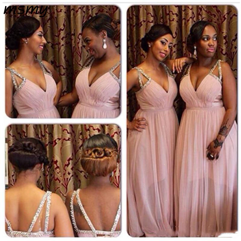 New Pleated Deep V Neck Crystal Chiffon Transparent Long   Bridesmaid     Dress   Plus Size Prom Gown Wedding Cross Straps Custom