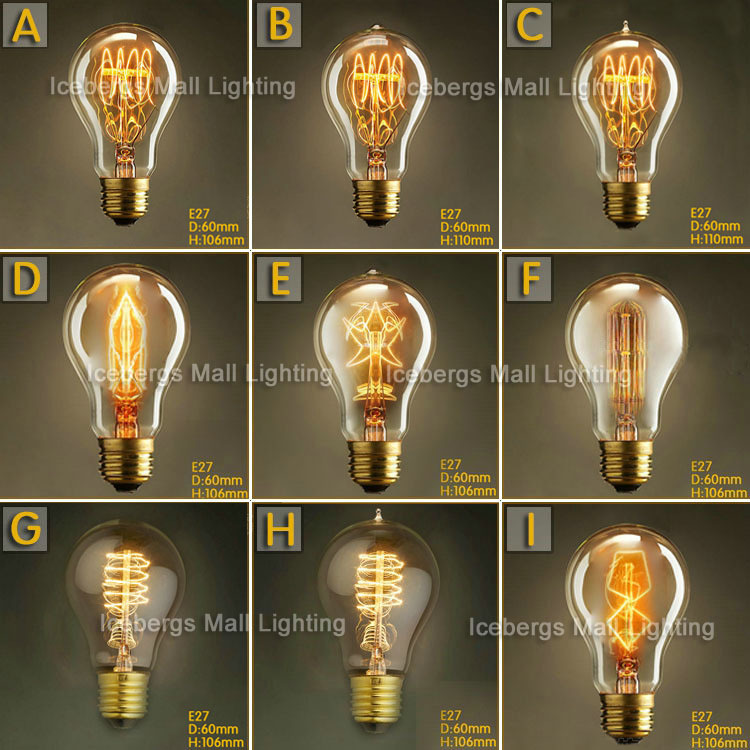 Vintage Edison Incandescent Light Bulb A19 E27 25W 40W 60W 110V 220V Decorative Lamp Bulb Firework Edison Lamp