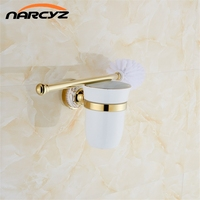 Uropean Style Gold Plated Solid Brass Toilet Brush Holder Bathroom Brush Holder Set Bathroom Accessories Free