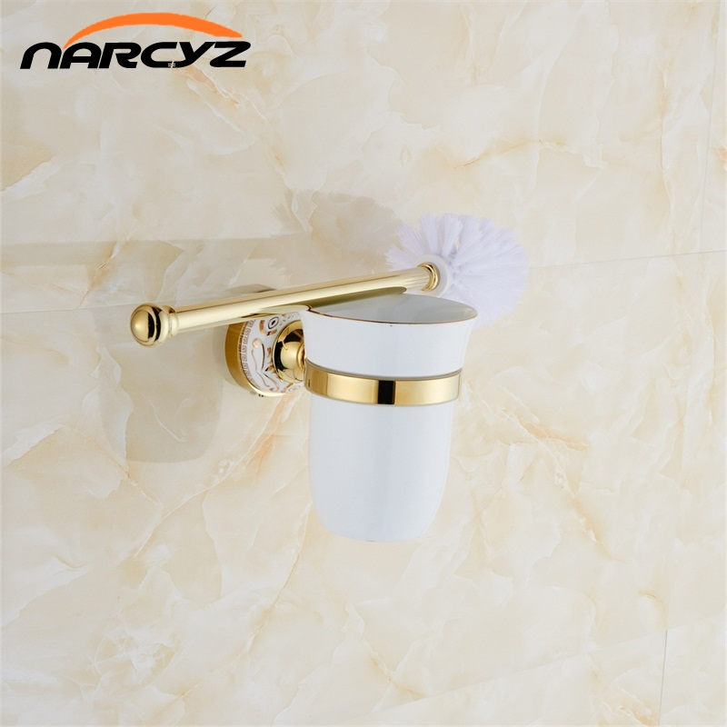 uropean Style Gold Plated Solid Brass Toilet Brush Holder Bathroom Brush Holder Set Bathroom Accessories Free Shipping 9091K