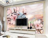 Foto papel de parede 3d papel de parede personalizado mural sala fluxo de flores água paisagem pintura mural da parede 3d papel de parede para parede 3 d