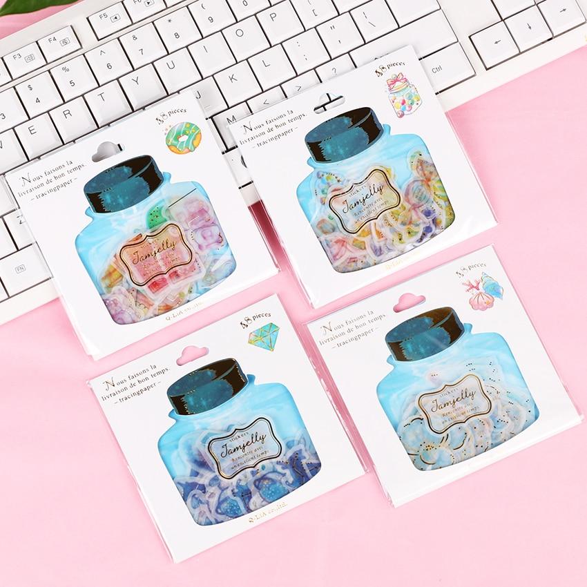 48 Pieces Korean DIY Diary Sticker Kawaii Scrapbooking Creative Drift Bottle Candy Dessert Bronzing Stationery Stickers