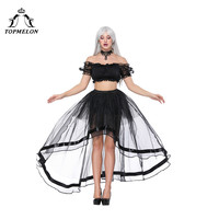 TOPMELON Sexy Two Pieces Skirt Tops Plus Size Women's Lace Short Sleeve Off Shoulder Tube Top with Midi Mesh Elastic Skirts