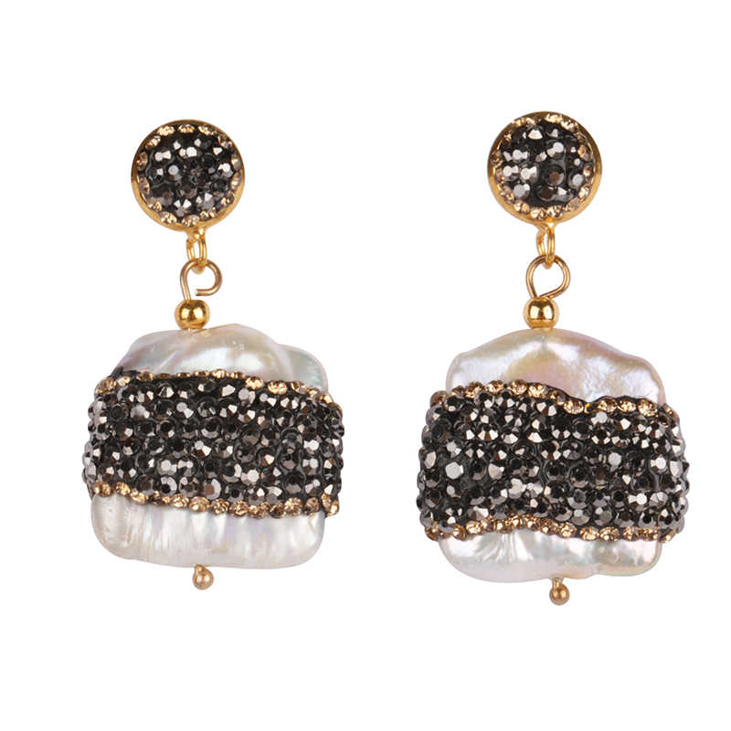 About 1 Inch Big Natural Rough Flat Freshwater Pearl Bead Pave Black Golden Rhinestone  Chandelier Charm 6c6952d4cc86
