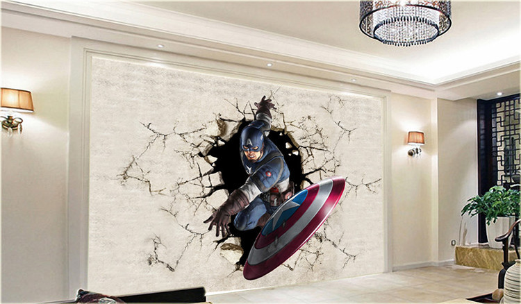 Aliexpress.com : Buy 3D View Wallpaper Captain America Photo ...