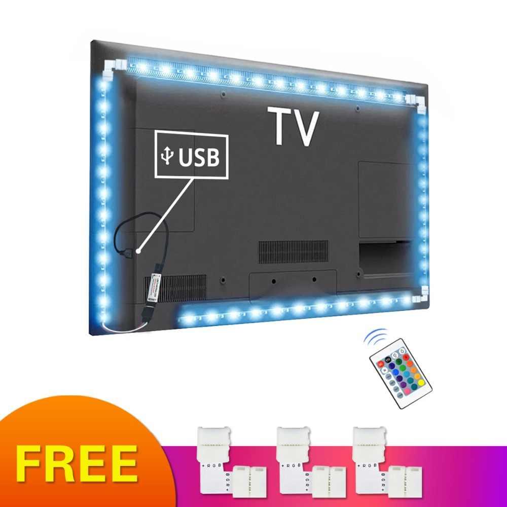 5050 Fleksibel Pita Led Lampu 5V RGB LED Light Bulb Desktop HDTV TV Latar Belakang Bias Lampu Layar PC Dekorasi 1M 2M 3M