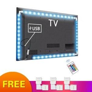 Image 1 - 5050 フレキシブルledテープランプ 5 12v rgb ledライト電球デスクトップhdtvテレビ背景バイアス照明pc画面の装飾 1 メートル 2 メートル 3 メートル