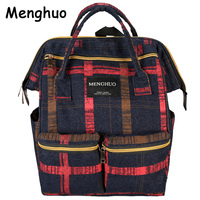 Menghuo Fashion Plaid Women Backpacks Female Denim School Bag For Teenagers Girls Travel Rucksack Large Space