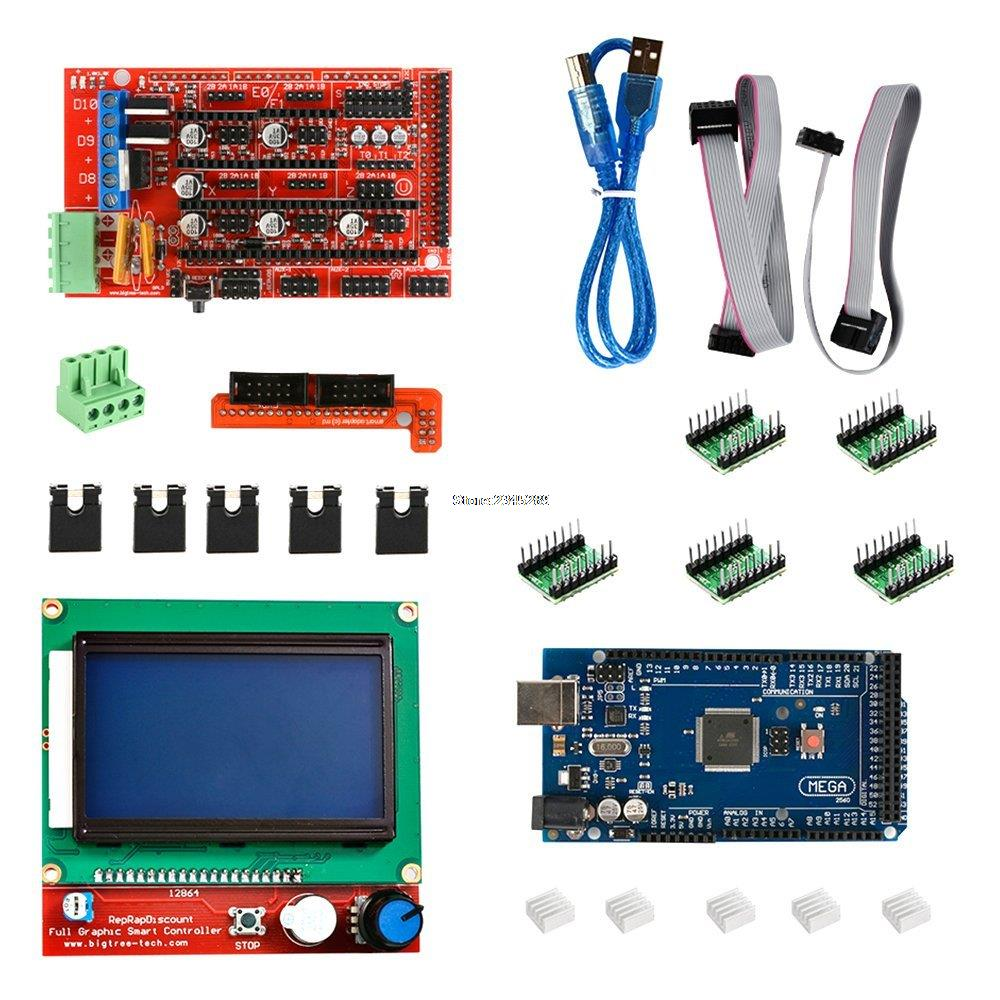 1Set Mega 2560 R3 + 1pcs RAMPS 1.4 Controller + 5pcs A4988 Stepper Driver Module +1pcs 12864 controller for 3D Printer kit