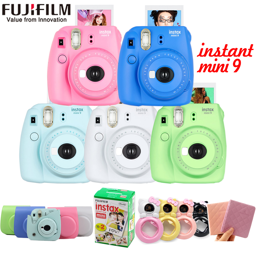 Fujifilm Fuji Instax Mini 9 Instant Film Photo Camera + 20 Sheets Fujifilm Instax Mini 8/9 Film + Mini 9 Bag + Lens+photo album fujifilm instax mini 9 camera 5 colors 10 shots fuji mini 9 instant film monochrome photo paper free shipping