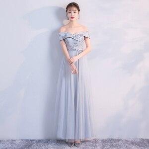 Image 4 - Bruidsmeisje Jurk Lange Grijs Kleur Jurk Wedding Party Dress Borduren Floor Lengte Jurk Terug Van Bandage Vestido Sexy Prom