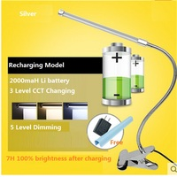 led rechargable table lamp ,2000maH Li battery 5 level dimming and CCT changing reading lights for beds,emergency desk lamp