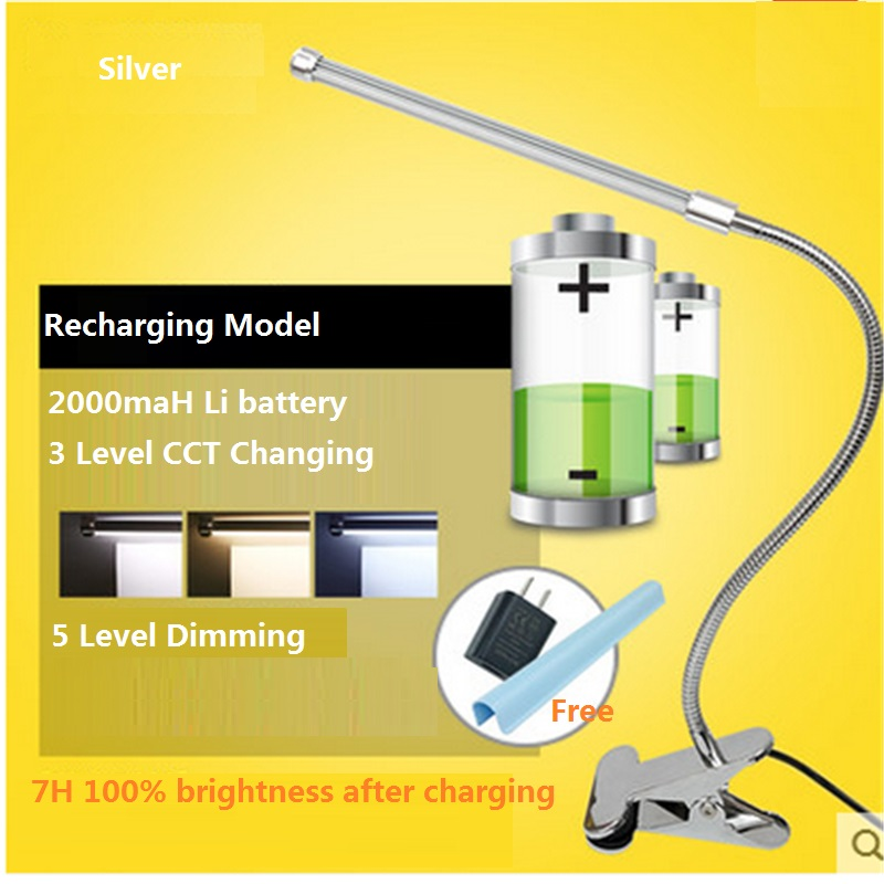 ФОТО led rechargable  table lamp  ,2000maH Li battery 5 level dimming and CCT changing reading lights for beds,emergency desk lamp