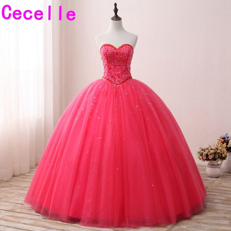 2019 robe de bal pêche longues robes de bal chérie perles cristaux Tulle jupe Corset adolescents princesse robes de bal sur mesure nouveau